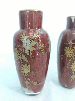 Antique PAIR OF VASES attributed to ERNEST BAPTISTE LEVEILLE