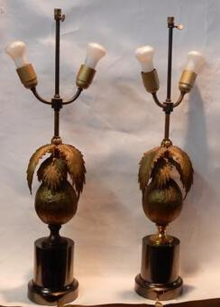 Antique 1970 'Pair Of Lamps Palm Or Coconut Tree With Coconut DLG Maison Jansen Or Charles Unsigned
