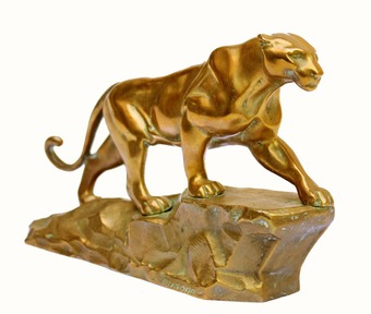 Antique GILT BRONZE PANTHER by Arthur DUPAGNE (1895-1961)
