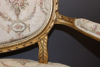 Antique Louis XVI Style Bench In Golden Wood