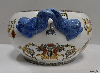 Antique CACHE POT  IN GIEN FAIENCE