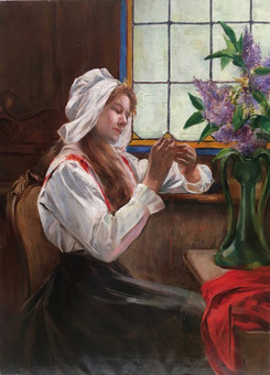 Antique OIL ON CANVAS YOUNG WOMAN SEWING