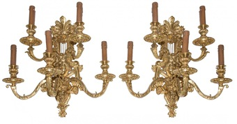 Antique PAIR OF NAPOLEON III PERIOD WALL LIGHTS