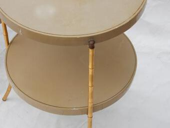 Antique 1970/80 'Pair of Bamboo Decor Tripod Pedestals, Lacquered Trays Style Maison Jansen Diameter 43 cm