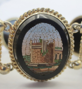 Antique MICRO MOSAIC, BLACK ONYX AND VERMEIL BRACELET