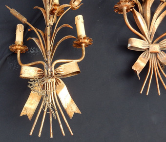Antique 1970 'Series Of 7 Wall Lights With Reeds In Golden Iron By Hans Kogl For Maison Jansen 5 Bulbs H 104 cm