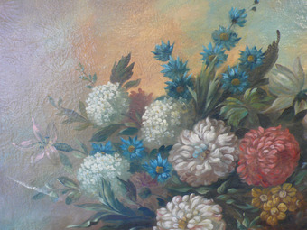 Antique 19th CENTURY PAINTING OF FLOWERS