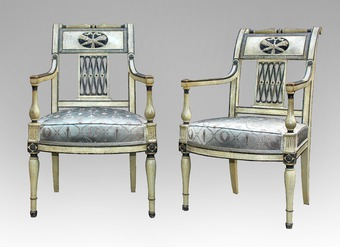 Antique PAIR OF FRENCH DIRECTOIRE STYLE ARMCHAIRS