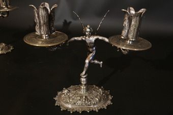 Antique Pair of silver metal candlestick, Angels, 19th
