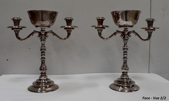 Antique PAIR OF SILVER PLATE CANDELABRA