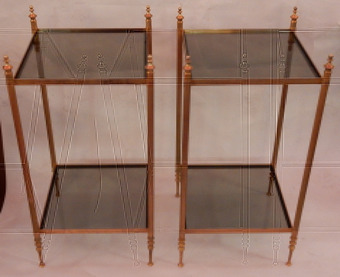 Antique 1970 'Pair Of Shelves Or Harnesses In 2 Levels Maison Bagués Glass Trays