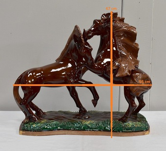 Antique BARBOTINE HORSES SIGNED R. PRUNET