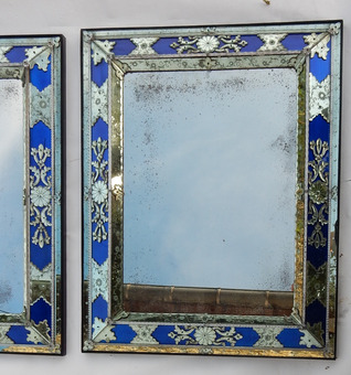 Antique 1970/80 Pair Of Louis 14 Style Venice Mirrors With Blue Glass Ornaments 96 X 77 cm