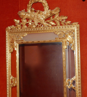 Antique 1950/70 'Console And Its Mirror With Doves In Golden Wood In The Style Of Louis 16