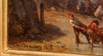 Antique OIL ON PANEL signed Charles BOUCHEZ (1811-1882)
