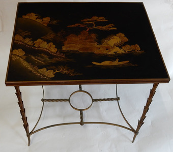 Antique 1950/70 Table With Tray Chinese Lacquer Maison Jansen Bronze Decor Palm Tree