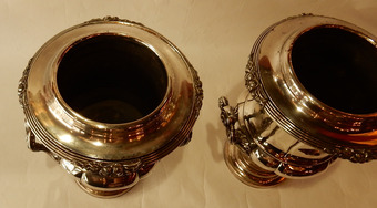 Antique 1900 'Pair Of Silver Metal Refreshers In The Style Of Napoleon 3