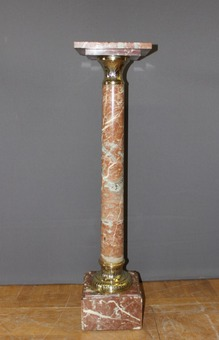 Antique Presentation Column In Marble And Brass XIX