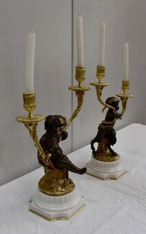 Antique PAIR OF BRONZE CANDELABRA