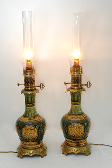 Antique PAIR OF PETROL LAMPS