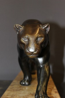 Antique Panther In Regulates Dark Patina Art Deco Period By Rulas