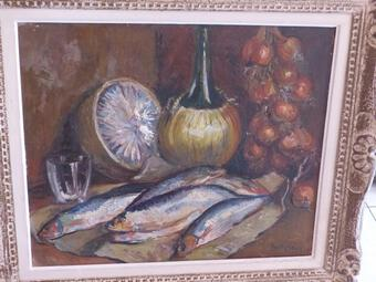 Antique Oil On Canvas Hst Still Life With Herring Sign Still Life Entablature XX E