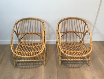 Antique PAIR OF WICKER ARMCHAIRS