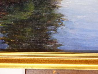 Antique Large painting hst Impressionist France early twentieth oil painting on caneva