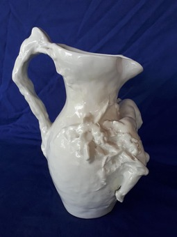 "Antique Vital Cornu large pitcher ""Le Vin"" signed 1902 Bacchus Art Nouveau ceramic"