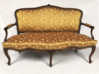 Antique LOUIS XV STYLE SETTEE AND STOOL
