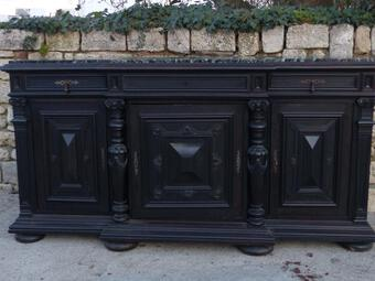 Antique Buffet Sideboard carved Three Doors Napoleon III Period Blackened Wood xix th