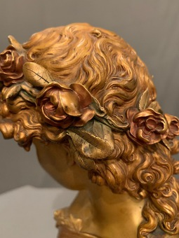 Antique BRONZE BUST BY MATHURIN MOREAU