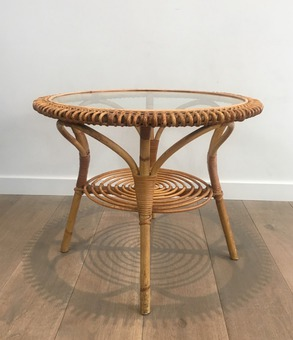 Antique WICKER COFFEE TABLE