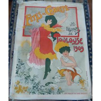 Antique Large Poster Art Nouveau Period Charity Party Of Students Toulouse 1909 Paul Dupuy Museum