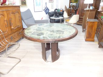 Antique Round dining table Steel Marble And Macassar XX th Modernist 1960s art deco style