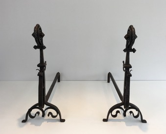 Antique PAIR OF FRENCH FIRE DOGS