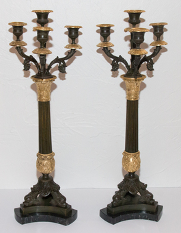 Antique PAIR OF FRENCH RESTAURATION PERIOD CANDELABRA