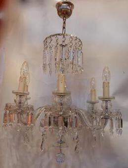 Antique 1920/40' Bohemian Or Baccarat  Crystal Chandelier 6 Arms