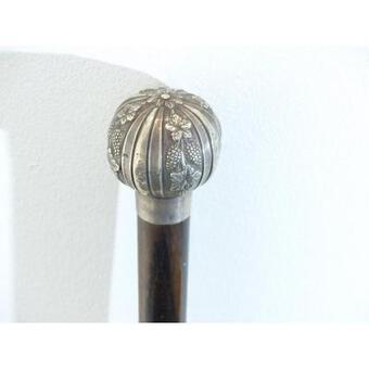 Antique Rare Cane In Rosewood Silver Pommel Decor Vines Pampres And Grapes Period XIX 19 Eme