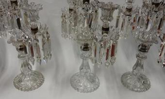 Antique 1950' Serie 4 Clandesticks  Baccarat  With 2 Arms Pearl Socks