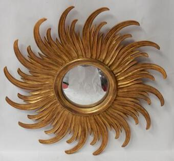 Antique 1950' Turning Convex Mirror Gilded Wood 58 cm