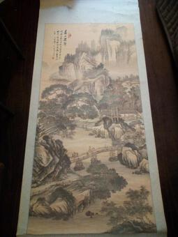 Antique 1 meter 30: Large Original Chinese Ink Painting Period XIX Eme Signed Stamp Description time xix / 19 Eme napoleon 3 napoleon III
