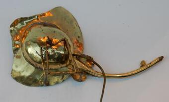 Antique 1970' Gilded Bronze Wall Lamp Ray Fish Style Duval Brasseur Enlightening
