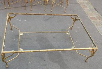 Antique 1950/70' Bronze Coffee Table With Swan and its 6 Pieces of Sofas 145 x 94 cm