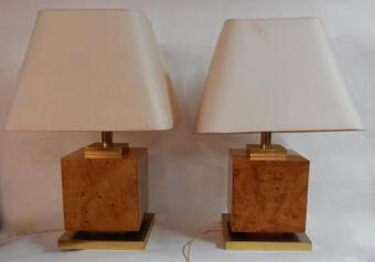 Antique 1950/70 'Pair Of Art Deco Lamps Golden Brass And Speckled Maple Magnifier