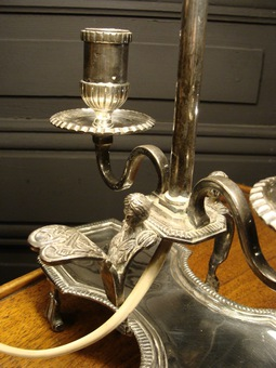 Antique Hot Water Bottle Lamp In Silvered Bronze
