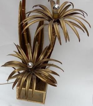 "Antique 1970 ""Palm Tree Floor Lamp in Brass  Maison Jansen 3 Heads Brutaliste Style"