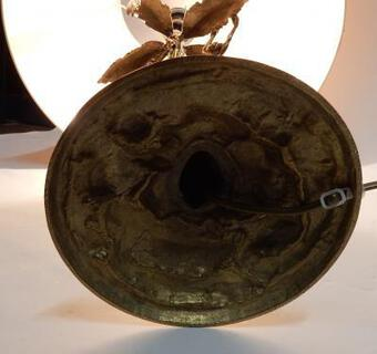 Antique 1980 'Gilt Bronze Lamp With Monkeys In A Palm Tree