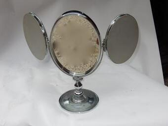 Antique 1950' Mirror For Jewerly triptych DLG Jacques Adnet Bronze Nickel-plated