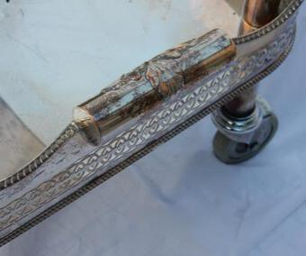 Antique 1950/70 British Rolling Bar Silvered Metal and Openwork Galleries